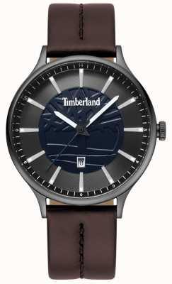 Timberland Quadrante blu con cinturino in pelle marrone testa di moro TBL.15488JSU/03