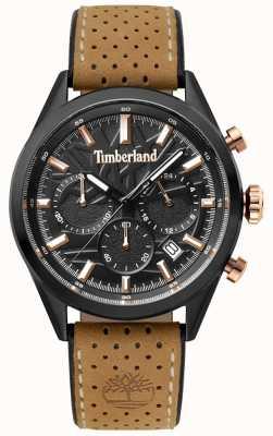 Timberland Quadrante nero con cinturino in pelle marrone chiaro randolph TBL.15476JSB/02