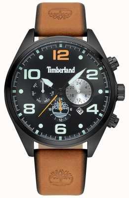 Timberland Quadrante e quadrante nero con cinturino in pelle marrone chiaro uomo TBL.15477JSB/02