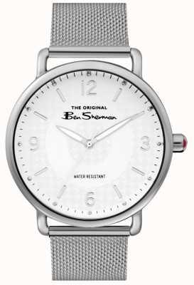 Ben Sherman Mens quadrante bianco argento maglia in acciaio argentato BS015SM