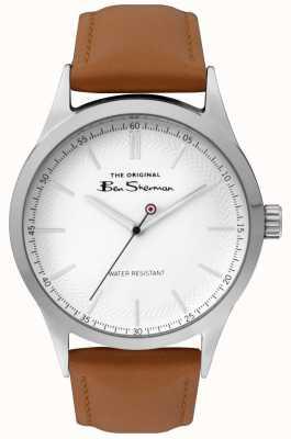 Ben Sherman Cassa in acciaio argentato con cinturino marrone chiaro quadrante bianco BS016T