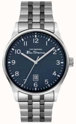 Ben Sherman Mens quadrante argentato bianco cassa argento cinturino in coccodrillo nero BS017USM