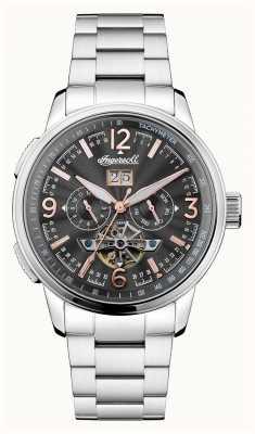 Ingersoll Mens il cronografo automatico nero reggente in acciaio inossidabile I00304