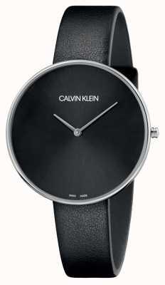 Calvin Klein Quadrante nero da donna in pelle nera luna piena K8Y231C1