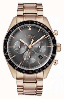 Hugo Boss Orologio da uomo con quadrante grigio cronografo quadrante tono oro rosa 1513632