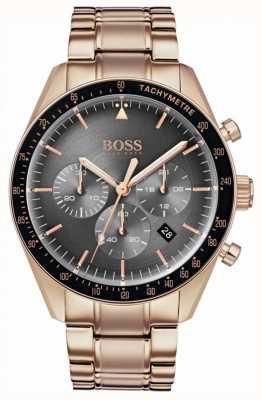 BOSS Orologio da uomo trofeo quadrante cronografo grigio tono oro rosa 1513632