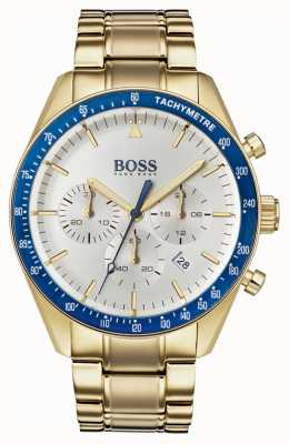 Boss Orologio da uomo con trofeo quadrante bianco in oro con cronografo 1513631