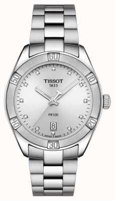 Tissot Esposizione della data con set di diamanti da donna pr 100 sport chic T1019101103600