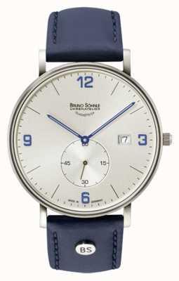 Bruno Sohnle Mens, grande quadrante argentato blu con cinturino in pelle color argento 17-13187-263