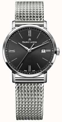 Maurice Lacroix Quadrante nero con cinturino in acciaio inossidabile eliros milanais EL1084-SS002-313-1