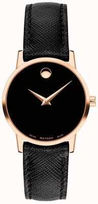 Movado Cinturino da donna in pelle nera con cinturino in pelle oro rosa 0607206