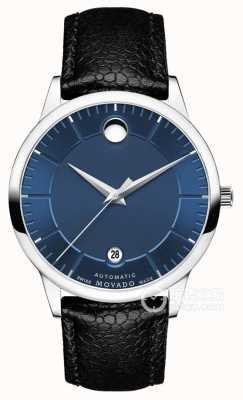 Movado Mens 1881 cinturino automatico in pelle nera quadrante blu 0607020