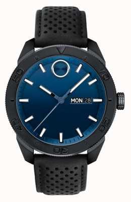 Movado Cinturino in pelle traforata nera con quadrante blu grassetto 3600495