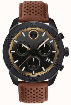 Movado Cinturino in pelle marrone perforata cronografo grassetto da uomo 3600515