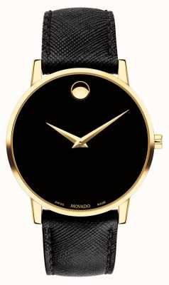 Movado Cassa placcata in oro nero in pelle mens men 0607195