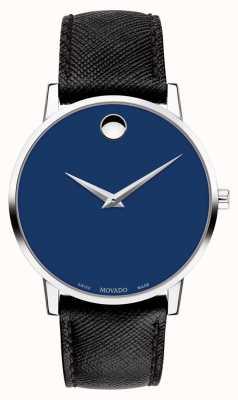 Movado Orologio da uomo museo quadrante blu cinturino in pelle nera acciaio inox 0607197