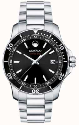 Movado Quadrante nero in acciaio inossidabile serie 800 da uomo 2600135