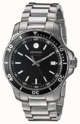 Movado Quadrante nero in acciaio inossidabile serie 800 2600135
