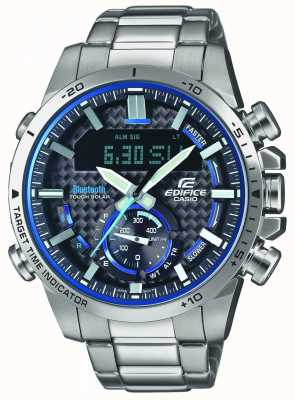 Casio Edifice bluetooth lap timer accenti in acciaio inossidabile blu ECB-800D-1AEF