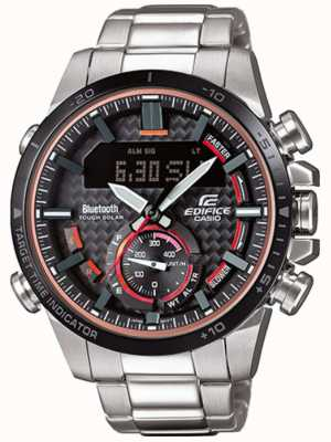 Casio Edifice bluetooth lap timer in acciaio inossidabile con accenti rossi ECB-800DB-1AEF