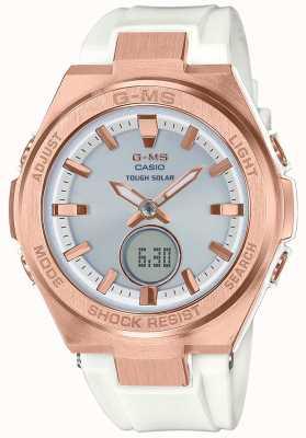 Casio G-ms cinturino solare bianco solare oro rosa baby-g MSG-S200G-7AER