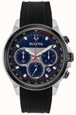 Bulova Cronografo da uomo quadrante blu cinturino in caucciù nero 98B314