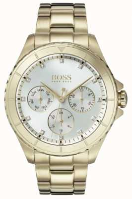 Hugo Boss Quadrante argentato in argento placcato oro femminile 1502445