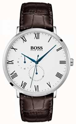 Hugo Boss Quadrante bianco classico in pelle marrone william da uomo 1513617