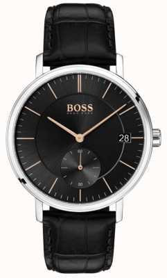 Hugo Boss Quadrante nero da uomo in pelle nera da uomo corporale 1513638