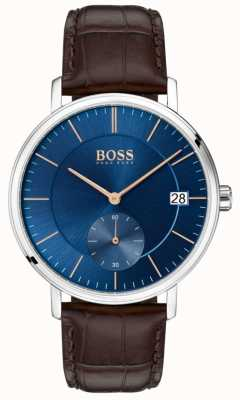 Boss Quadrante blu cinturino in pelle marrone corporeo maschile 1513639