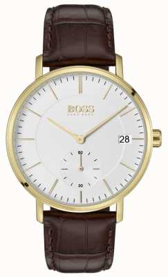 Hugo Boss Quadrante bianco in pelle marrone corporale maschile 1513640