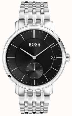 Boss Quadrante nero maschile in acciaio inossidabile 1513641