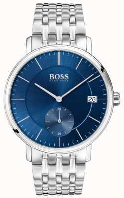 Boss Quadrante blu maschile in acciaio inossidabile 1513642