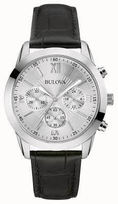 Bulova Orologio da uomo cronografo classico in pelle nera 96A162