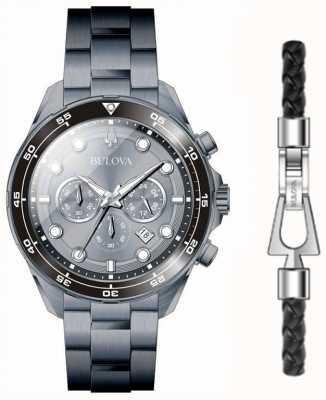Bulova Set regalo per orologio e bracciale placcato in pvd nero da uomo 98K104