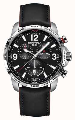 Certina Mens ds podium cronografo quadrante nero cinturino in pelle nera C0016471605701