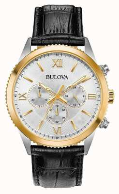 Bulova Orologio cronografo da donna in pelle nera 98A218