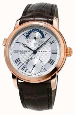 Frederique Constant Cinturino marrone smartwatch automatico di fabbricazione ibrida 3.0 FC-750MC4H4