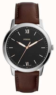 Fossil Mens il cinturino in pelle marrone quadrante nero con quadrante bianco FS5464