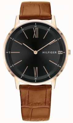 Tommy Hilfiger Mens cooper orologio cassa in acciaio con cinturino nero in pelle marrone 1791516