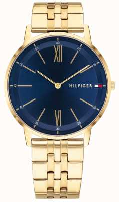 Tommy Hilfiger Quadrante blu del quadrante del braccialetto del tono di oro dell'orologio del bottaio 1791513