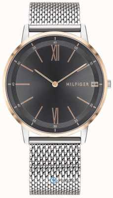 Tommy Hilfiger Quadrante nero con cinturino in maglia di acciaio inossidabile 1791512