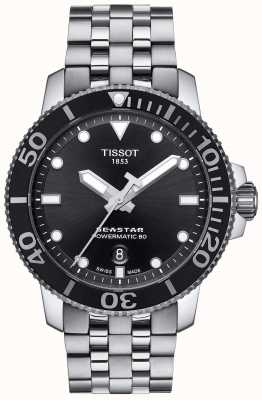 Tissot Mens seastar 1000 powermatic 80 quadrante nero in acciaio inossidabile T1204071105100