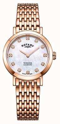 Rotary Orologio da donna con cinturino in oro rosa con diamanti rosa LB05304/41/D