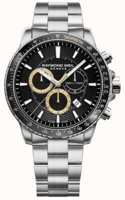 Raymond Weil Bracciale da uomo tango 300 in acciaio inossidabile con cinturino nero crono 8570-ST1-20701
