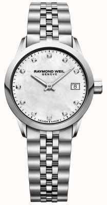 Raymond Weil Womens freelancer madreperla quadrante diamante orologio 5626-ST-97081
