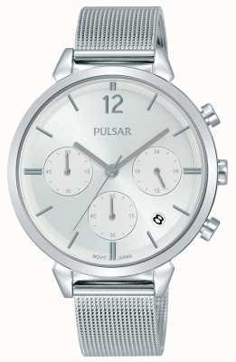 Pulsar Cassa da donna in acciaio inossidabile quadrante cronografo argento PT3943X1