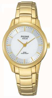 Pulsar Quadrante argentato solare placcato oro da donna PY5042X1