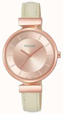Pulsar Cinturino in pelle color crema per signore placcato oro rosa PH8418X1