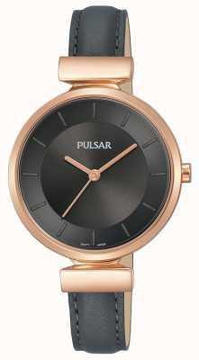 Pulsar Cinturino in pelle color grigio scuro con cassa placcata oro rosa PH8420X1